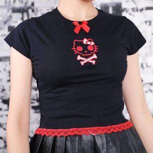 LYUU KITTY SKULL RED CROP TOP - hello kitty goth
